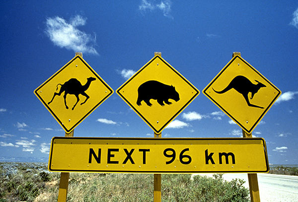 Australien Strassenschilder